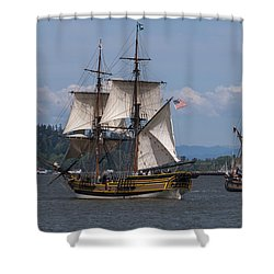 Tall Ships Square Off Shower Curtain