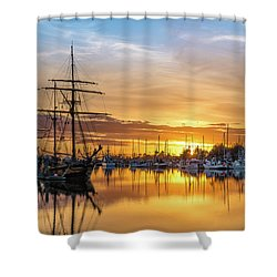 Tall Ships Sunset 1 Shower Curtain