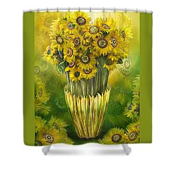Shower Curtain featuring the mixed media Tall Sunflowers In Sunflower Vase by Carol Cavalaris