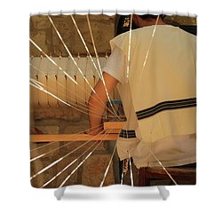 Shower Curtain featuring the photograph Jewish Prayer Shawl Weaving In Tzfat by Yoel Koskas