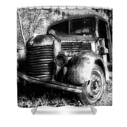 Tam Truck Black And White Shower Curtain by Marko Mitic