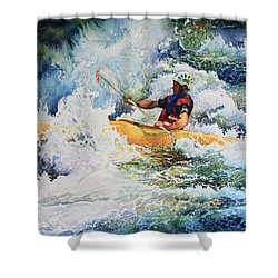 Shower Curtain featuring the painting Taming Of The Chute by Hanne Lore Koehler
