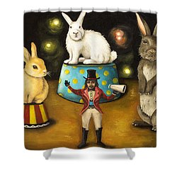Taming Of The Giant Bunnies Shower Curtain by Leah Saulnier The Painting Maniac