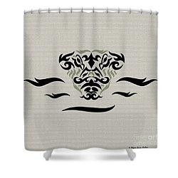 Shower Curtain featuring the digital art Tan Tribal Gator by Megan Dirsa-DuBois