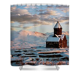Tanahat Monastery At Sunset In Winter, Armenia Shower Curtain