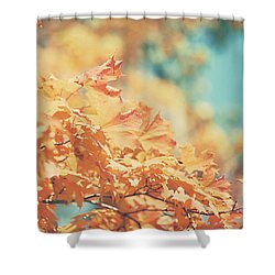 Tangerine Leaves And Turquoise Skies Shower Curtain by Lisa Russo