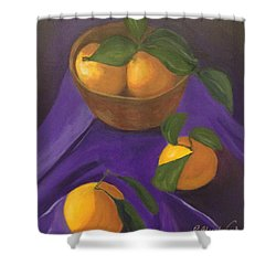 Shower Curtain featuring the painting Tangerines On Purple by Patricia Cleasby