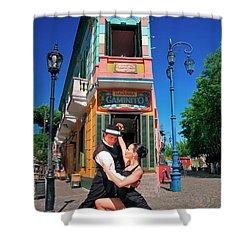 Shower Curtain featuring the photograph Tango At Caminito by Bernardo Galmarini