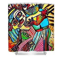 Tango Dance Of Love Shower Curtain by Sandra Silberzweig