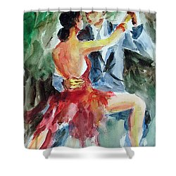 Shower Curtain featuring the painting Tango In The Night by Faruk Koksal