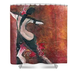 Shower Curtain featuring the painting Tango by Maya Manolova