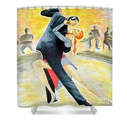 Tango Tangle -- Portrait Of 2 Tango Dancers Shower Curtain