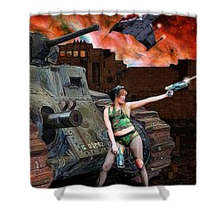 Tank Girl In Action Shower Curtain