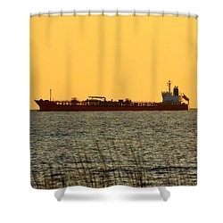 Tanker At Sunrise Shower Curtain