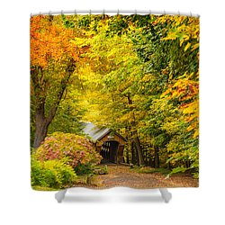 Shower Curtain featuring the photograph Tannery Hill Covered Bridge by Robert Clifford