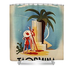 Taormina, Sicily, Italy - Couples - Retro Travel Poster - Vintage Poster Shower Curtain