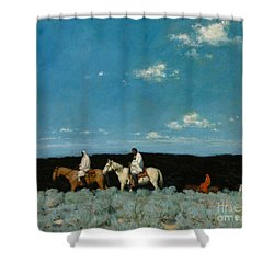 Shower Curtain featuring the painting Taos Indians Homeward Bound by E  Martin Hennings
