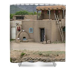Taos Pueblo Adobe House With Pots Shower Curtain