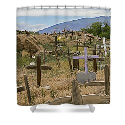 Taos Pueblo Cemetery Shower Curtain