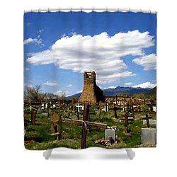 Taos Pueblo Cemetery Shower Curtain by Kurt Van Wagner