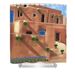 Taos Pueblo With Flowers Shower Curtain by Walter Colvin