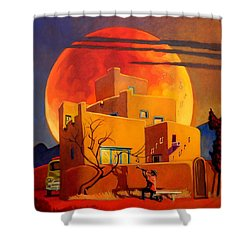 Shower Curtain featuring the painting Taos Wolf Moon by Art West