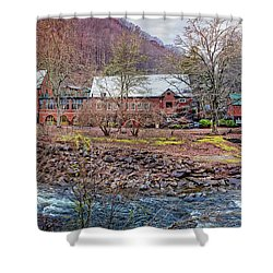 Shower Curtain featuring the photograph Tapoco Lodge by Debra and Dave Vanderlaan