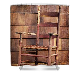Shower Curtain featuring the photograph Tappan Chairs Rocker, Sandwich, Nh by Betty Denise