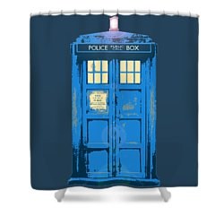 Tardis - Think Inside The Box Shower Curtain by Richard Reeve