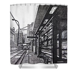 Target Station Shower Curtain by Jude Labuszewski