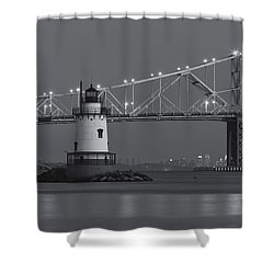 Tarrytown Lighthouse And Tappan Zee Bridge At Twilight II Shower Curtain