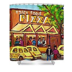Tasty Food Pizza On Decarie Blvd Shower Curtain by Carole Spandau