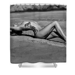 Tattoo Woman On The Beach Shower Curtain
