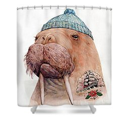 Tattooed Walrus Shower Curtain
