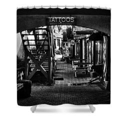 Tattoos And Body Piercing In Black And White Shower Curtain