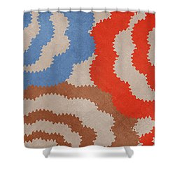 Shower Curtain featuring the mixed media Taupe Ring Pattern by Christina Rollo
