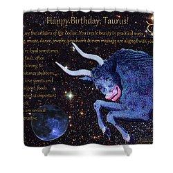 Taurus Birthday Zodiac Astrology Shower Curtain by Michele Avanti