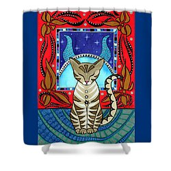 Taurus Cat Zodiac Shower Curtain