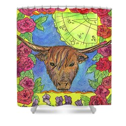 Shower Curtain featuring the painting Taurus by Cathie Richardson