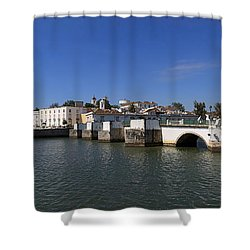Tavira Ponte Romana And The River Shower Curtain by Louise Heusinkveld