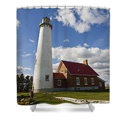 Tawas Point Lighthouse Shower Curtain by Tara Lynn