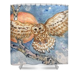 Tawny Owl And Hunters Moon  Shower Curtain