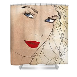 Taylor Red Lips Shower Curtain by Pablo Franchi