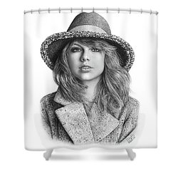 Taylor Swift Portrait Drawing Shower Curtain by Shierly Lin