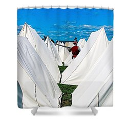 Field Of Tents Shower Curtain by Kate Arsenault