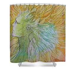 Shower Curtain featuring the drawing Te-fiti by Marat Essex