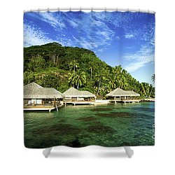 Te Tiare Resort Shower Curtain by David Cornwell/First Light Pictures, Inc - Printscapes
