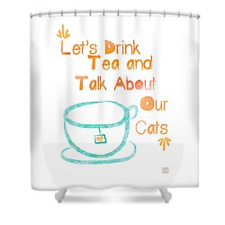 Tea And Cats Square Shower Curtain by Linda Woods