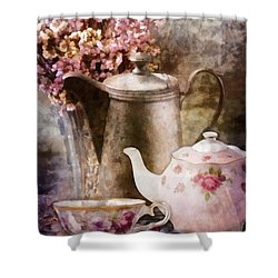 Shower Curtain featuring the painting Tea And Grapes by Mo T