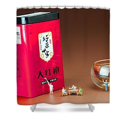 Shower Curtain featuring the photograph Tea Drinking In A Family Little People Big World by Paul Ge